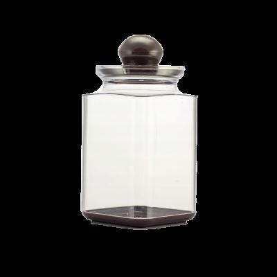 Pojemnik plastikowy na artykuły sypkie z brązową pokrywką 1,3l