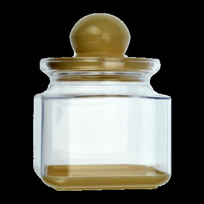 Pojemnik plastikowy na artykuły sypkie z beżową pokrywką 0,6l