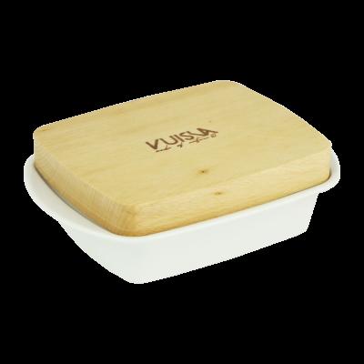 Maselnica porcelanowa z drewnianą pokrywą VUISLA 12x16,5x5, cm
