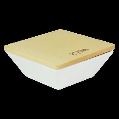 Pojemnik ceramiczny z drewnianą pokrywką VUISLA 14x14x7 cm