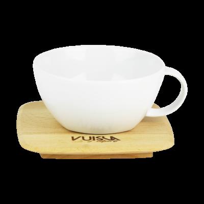 Filiżanka porcelanowa z drewnianym spodkiem VUISLA 240 ml