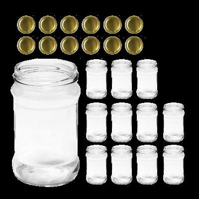 Słoik 370ml z wieczkiem złotym 12 szt