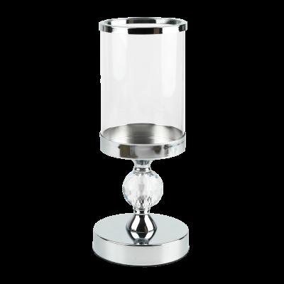 Świecznik na nodze ze szklanym kloszem srebrny 12x28 cm
