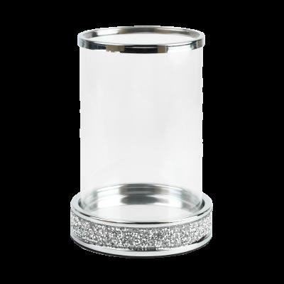 Świecznik tuba ze szklanym kloszem srebrny 14x20 cm