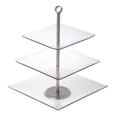 Patera szklana kwadratowa Camila 3-poziomowa