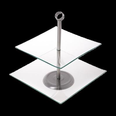 Patera szklana kwadratowa Grace 2-poziomowa