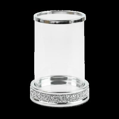 Świecznik tuba ze szklanym kloszem srebrny 12x17 cm