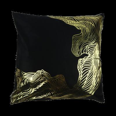 Komplet 2 ozdobnych poszewek na poduszkę złote zdobienia 43x43 cm