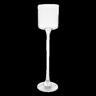 Świecznik szklany na nóżce 7x30 cm