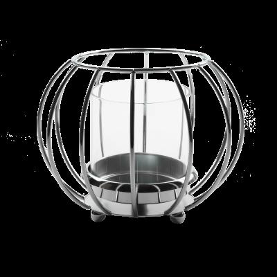 Świecznik metalowy kula ze szklanym kloszem