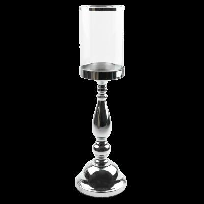 Świecznik na nodze wysoki ze szklanym kloszem srebrny 13x43 cm