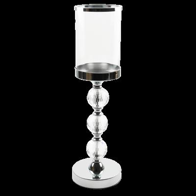 Świecznik na nodze ze szklanym kloszem srebrny 12x41 cm