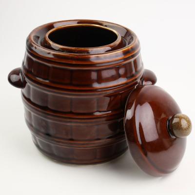 Beczka ceramiczna z pokrywką brązowa 5l