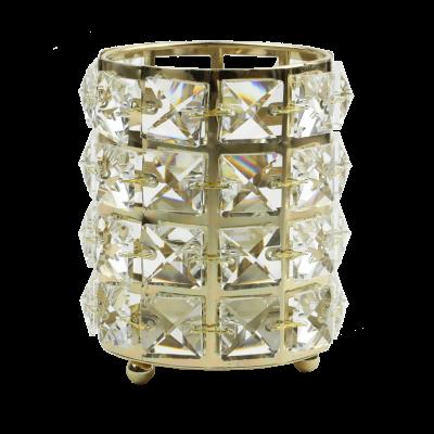 Świecznik metalowy kryształki złoty 8,5x12 cm