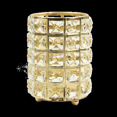 Świecznik metalowy kryształki złoty 10,5x14,5 cm