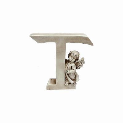 Ozdobna literka z aniołkiem - T
