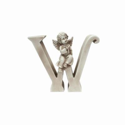 Ozdobna literka z aniołkiem - W