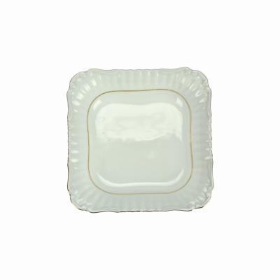 Salaterka kwadratowa 24cm IWONA ze złotym paskiem Chodzież - 1