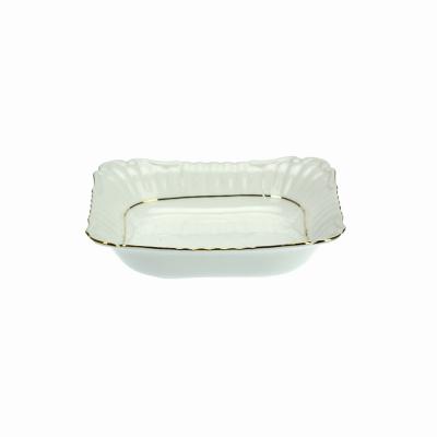 Salaterka kwadratowa 24cm IWONA ze złotym paskiem